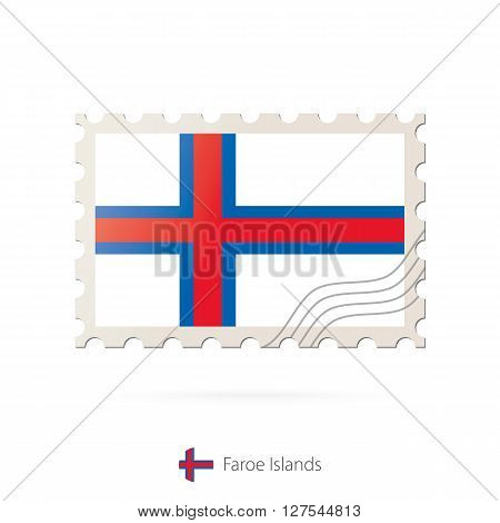 Postage Stamp With The Image Of Faroe Islands Flag.