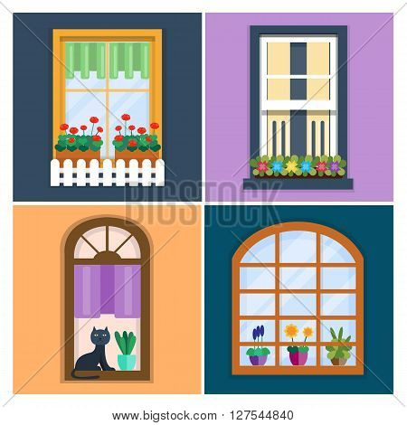 Vector illustration of windows set with plants in flower pots. Details - window set for constructing house. Flat style. Collection of house construction. Urban street design