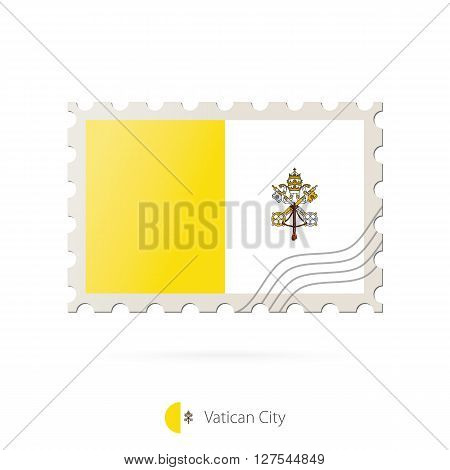 Postage Stamp With The Image Of Vatican City Flag.