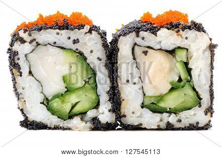 Yummy sushi rolls with white fish and cucumber in black and orange tobiko roe isolated closeup