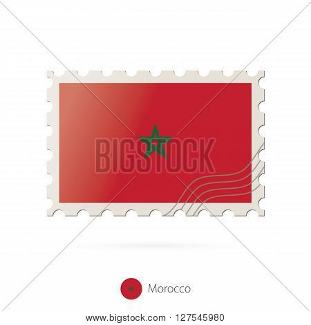 Postage Stamp With The Image Of Morocco Flag.