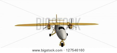 one yellow civilian small plane with two motors. A simple 3D model on a white background. Aircraft DHC-6 Twin Otter. 3D rendering, 3D illustration