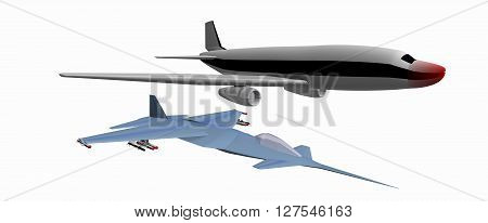 two low-poly 3D models of combat aircraft. White background. 757, YF-24