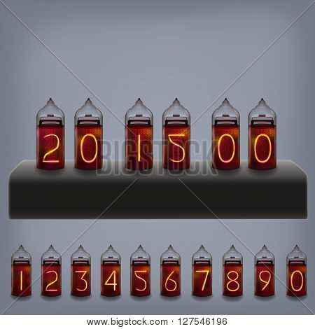 lamp electric clock calendar set .Vector Illustration.