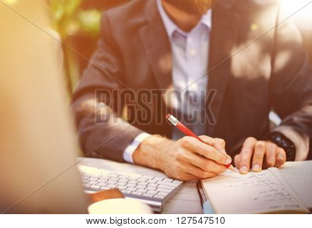 Business Man Working Outdoor Office Concept