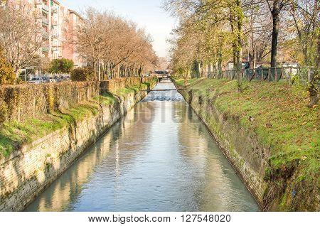suburb canal bologna reno river autumn city emilia romagna