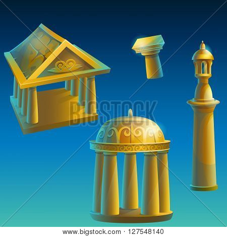 Set of gold ancient ruined buildings - Corinthian column Ionic columns gazebo under the dome minaret.