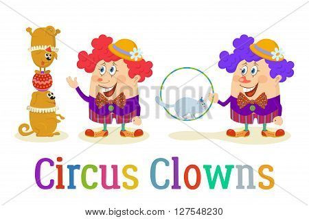 Set of Cheerful Kind Circus Clowns in Colorful Clothes with Trained Animals, Dogs and Cat, Holiday Illustration, Funny Cartoon Characters, Isolated on White Background. Vector