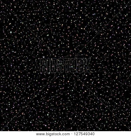 Vector Realistic seamless of the night sky with color stars and galaxies.