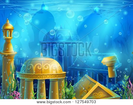 Atlantis. Seamless submerged underwater city the gold ancient ruins of eastern. For newspapers magazines web design websites printing video or web game.
