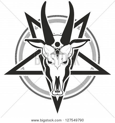 occult sign skull goat in the pentagram on a white background
