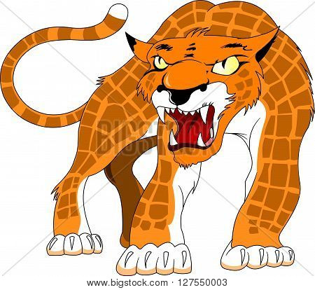 Leopard spotty skin with angry growls vector