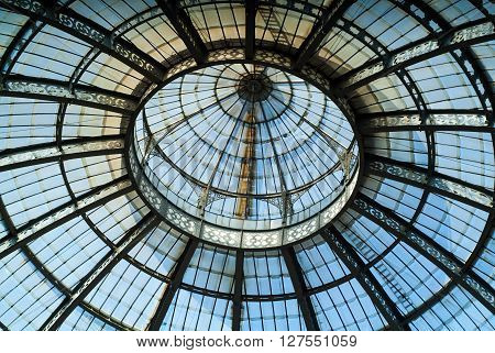 Milan, Italy - September 5th 2015: closeup photo of the glass ceiling of the Galleria Vittorio Emanuele II in Milan photographed on September 5th 2015.