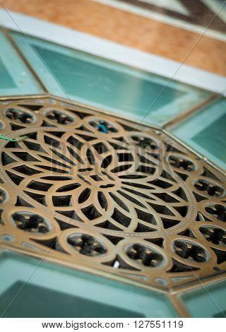 Milan, Italy - September 5th 2015: closeup photo of anelaborate floor pattern in the Galleria Vittorio Emanuele II in Milan.