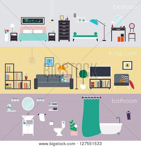 Set of colorful vector interior design house rooms with furniture icons: living room bedroom and bathroom. Furniture and Home Accessories. Flat style vector illustration.