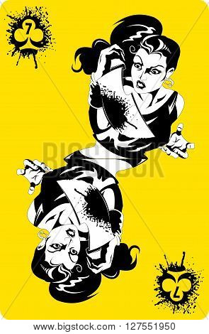 woman huge bloody knife in his hand vector