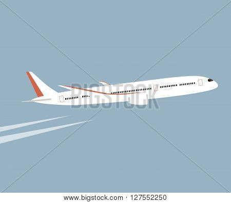 Airplane flying in the blue sky background. Vector flat style illustration. White airplane in the sky.
