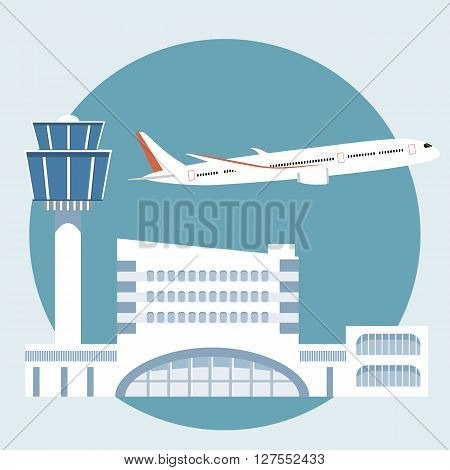 The illustration of airport terminal. Travel concept of planning a summer vacation tourism. Journey symbol airplane airport. Flat fesign icon vector illustration