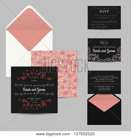floral wedding set with invitation and rsvp cards and envelope