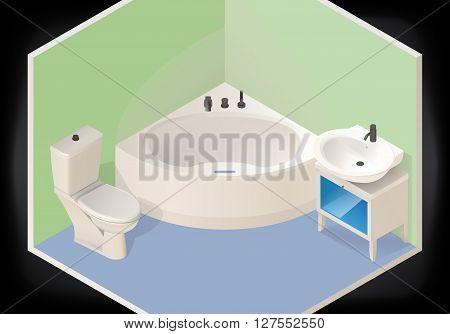Bathroom isometric flat vector 3d illustration. Cartoon bathtub, lavatory pan toilet, washbasin.