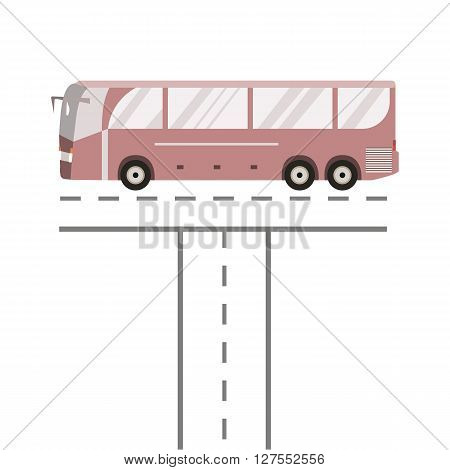Bus on the road. Public transport vehicle intercity longer distance tourist coach bus. Vector illustration flat design isolated