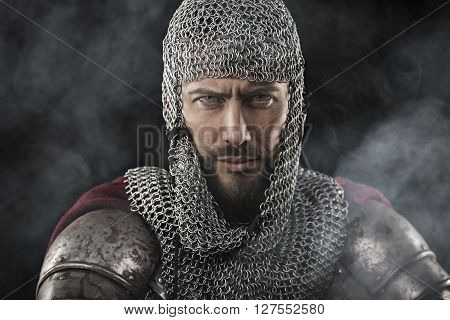 Medieval Warrior With Chain Mail Armour
