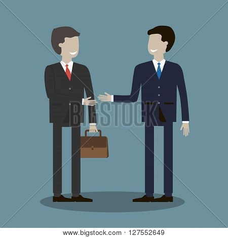 Business deal. Business people shaking hands. Trusted partnership. Vector illustration. Flat style characters