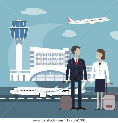 Business travellers waiting for their flight at airport. Two business people meeting at airport. Business people travel airport concept. Vector flat style design illustration