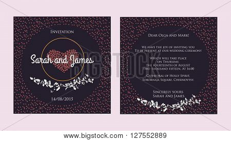 purple wedding invitation cards with hand drawn branch of barberry