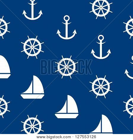 Seamless marine pattern on a blue background