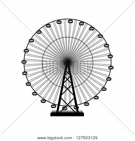 Vector illustration. Ferris wheel. Carnival. Funfair background.