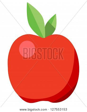 Red isolated apple on a white background. Vector illustration