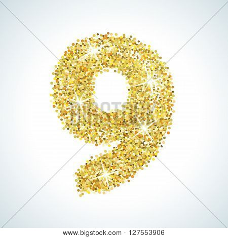 Nine number in golden style. illustration gold design. Formed by yellow shapes. For party poster, greeting card, banner or invitation. Cute numerical icon and sign.
