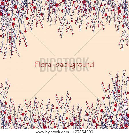 floral background with hand drawn branch of flax
