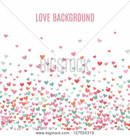 Romantic pink and blue heart background. illustration for holiday design. Many flying hearts down on white background. For wedding card, valentine day greetings, lovely frame.