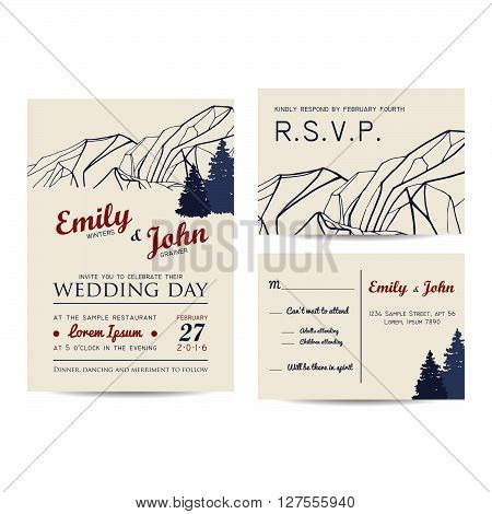 wedding invitation set with mountains and fir-tree. winter invitation card
