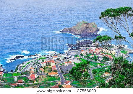 View of picturesque town of Porto Moniz Madeira