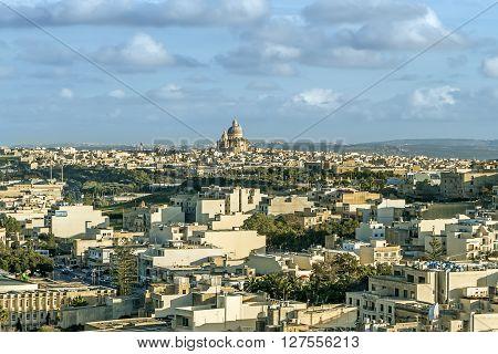 View To Victoria City In Malta