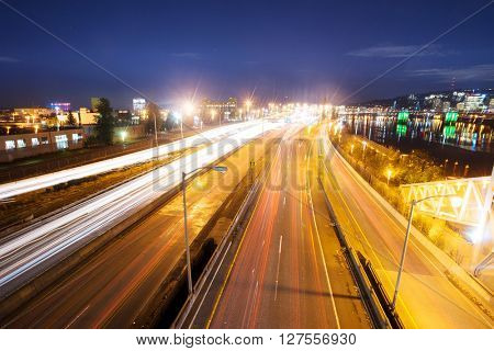 busy traffic on road at night in portland
