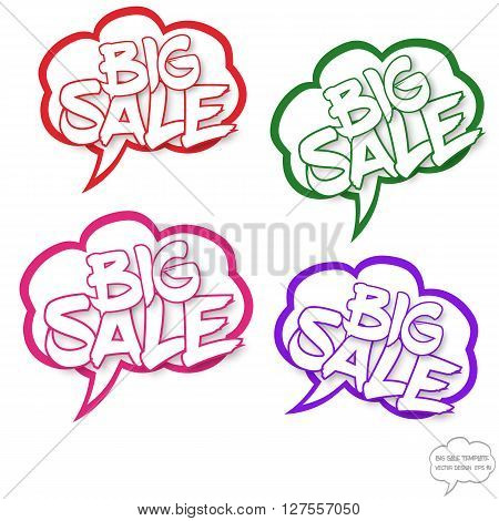 Vector Big sale concept. Set of comics bubbles with Big sale text. Comics bubbles on white background. Big sale text with shadow. The text is in outlines. Comics bubbles are in cloud style. Various colors. Signs for various use.