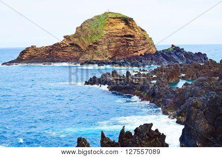 Ilheu Mole little island at Porto Moniz Madeira