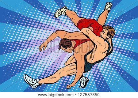 Greco Roman wrestling men pop art retro style. Wrestling. Athletics. Summer sports