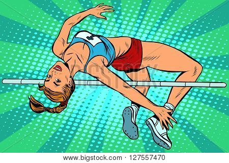 Athlete high jump girl pop art retro style. Overcoming the strap height. Summer sports, athletics