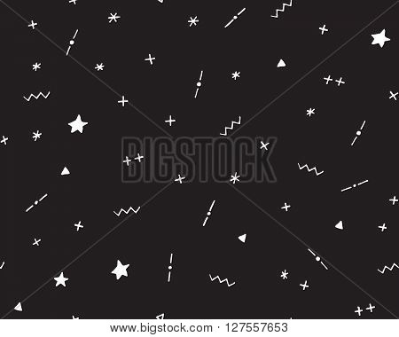 Seamless abstract geometric hipster pattern 90s, vector illustration