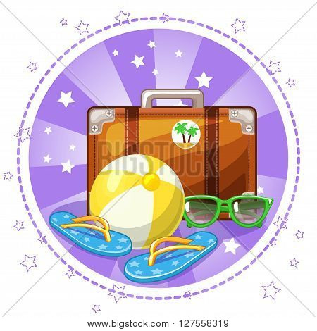 Ball, slippers, glasses and suitcase. Set summer symbols. Vector Stock Illustration