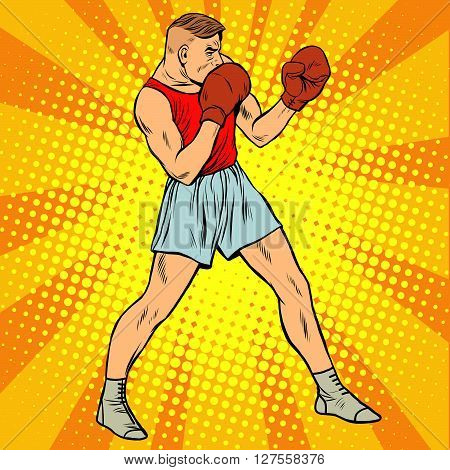 Retro boxer in fighting stance pop art retro style. Summer sports games. Boxing and martial arts