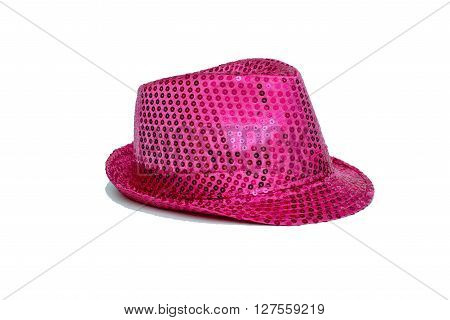 pink hat for parties on an isolated background