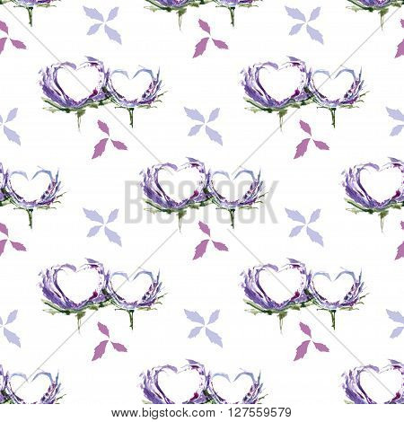 Hearts Watercolor Floral And Romantic Pattern