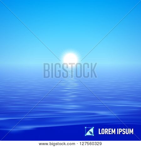 Sunshine over deep blue water surface split view