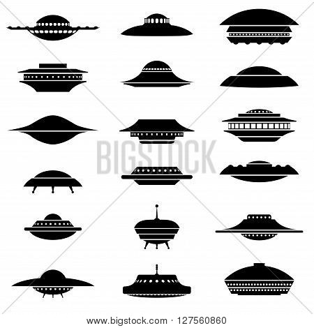 UFO, aliens space ships and orbital station vector EPS8 collection